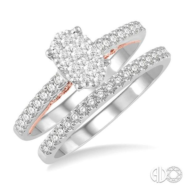 5/8 ctw Lovebright Diamond Wedding Set With 1/2 ctw Oval Shape Engagement Ring in 14K White and Rose Gold and 1/6 ctw Wedding Ba Coughlin Jewelers St. Clair, MI