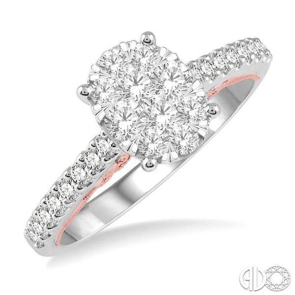 3/4 ct Oval Shape Lovebright Diamond Cluster Ring in 14K White and Rose Gold Coughlin Jewelers St. Clair, MI