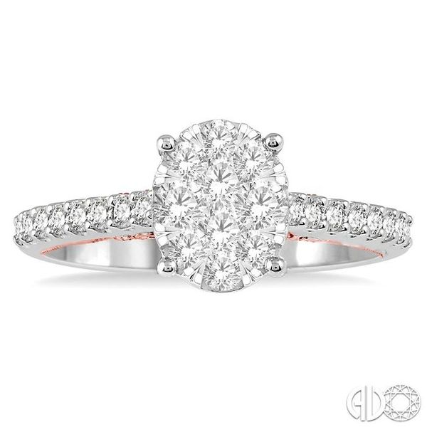 3/4 ct Oval Shape Lovebright Diamond Cluster Ring in 14K White and Rose Gold Image 2 Coughlin Jewelers St. Clair, MI