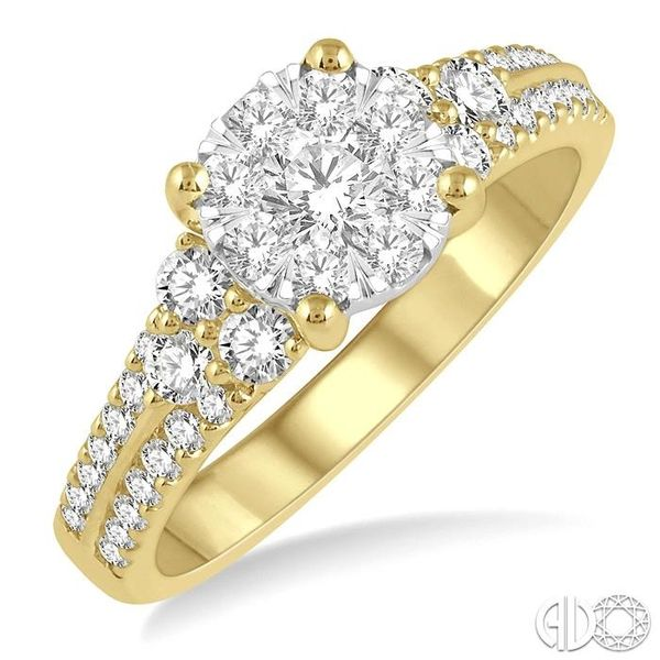 7/8 Ctw Lovebright Diamond Cluster Ring in 14K Yellow and White Gold Coughlin Jewelers St. Clair, MI