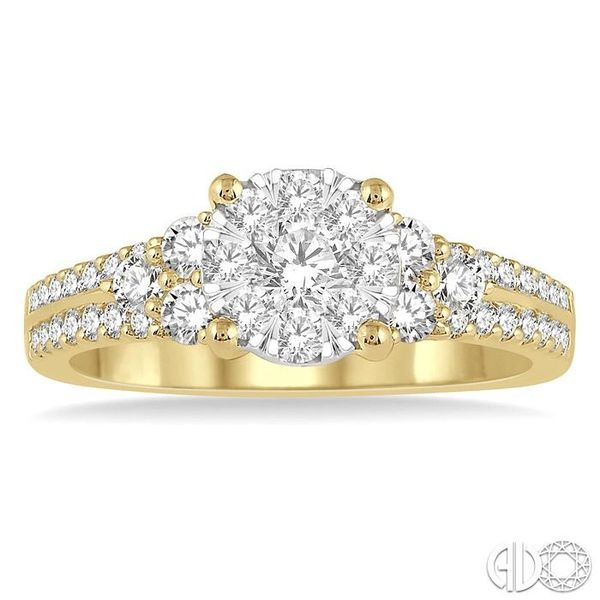 7/8 Ctw Lovebright Diamond Cluster Ring in 14K Yellow and White Gold Image 2 Coughlin Jewelers St. Clair, MI