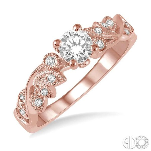 1/2 Ctw Diamond Engagement Ring with 1/3 Ct Round Cut Center Stone in 14K Rose Gold Coughlin Jewelers St. Clair, MI