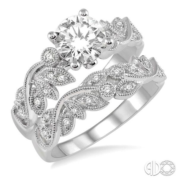 1/2 Ctw Diamond Wedding Set with 1/2 Ctw Round Cut Engagement Ring and 1/10 Ctw Wedding Band in 14K White Gold Coughlin Jewelers St. Clair, MI