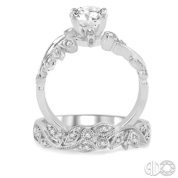 1/2 Ctw Diamond Wedding Set with 1/2 Ctw Round Cut Engagement Ring and 1/10 Ctw Wedding Band in 14K White Gold Image 3 Coughlin Jewelers St. Clair, MI