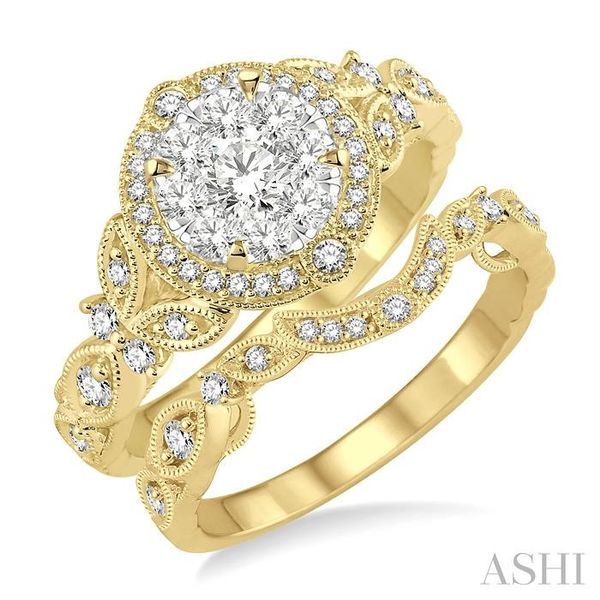 3/4 Ctw Diamond Lovebright Wedding Set with 5/8 Ctw Engagement Ring and 1/6 Ctw Wedding Band in 14K Yellow and White Gold Coughlin Jewelers St. Clair, MI