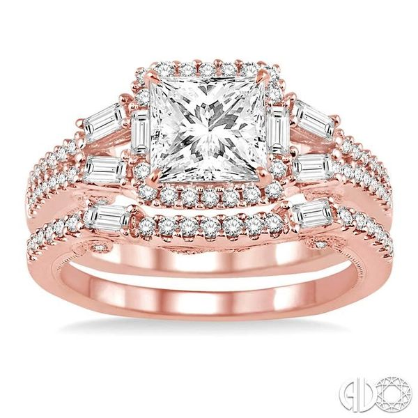 1 3/8 Ctw Diamond Wedding Set with 1 1/6 Ctw Princess Cut Engagement Ring and 1/4 Ctw Wedding Band in 14K Rose Gold Image 2 Coughlin Jewelers St. Clair, MI