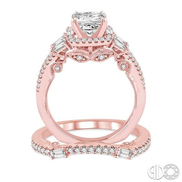 1 3/8 Ctw Diamond Wedding Set with 1 1/6 Ctw Princess Cut Engagement Ring and 1/4 Ctw Wedding Band in 14K Rose Gold Image 3 Coughlin Jewelers St. Clair, MI