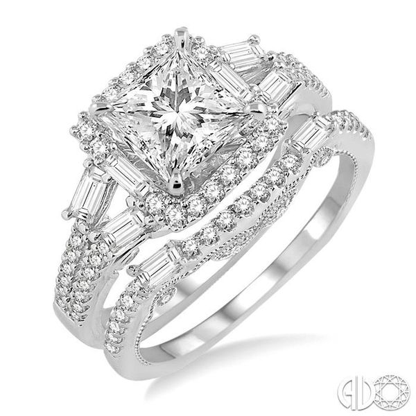 1 3/8 Ctw Diamond Wedding Set with 1 1/6 Ctw Princess Cut Engagement Ring and 1/4 Ctw Wedding Band in 14K White Gold Coughlin Jewelers St. Clair, MI