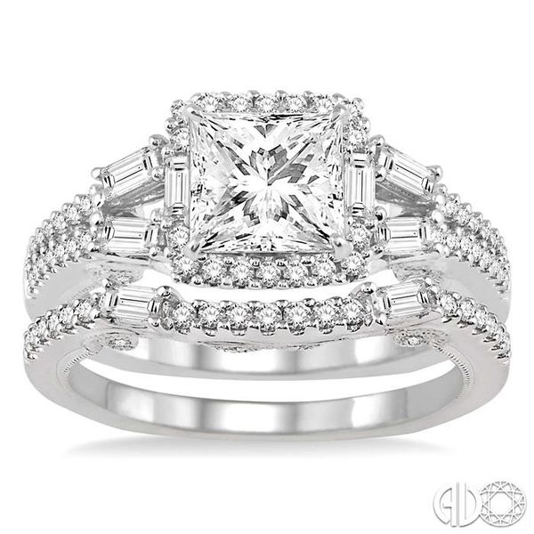 1 3/8 Ctw Diamond Wedding Set with 1 1/6 Ctw Princess Cut Engagement Ring and 1/4 Ctw Wedding Band in 14K White Gold Image 2 Coughlin Jewelers St. Clair, MI