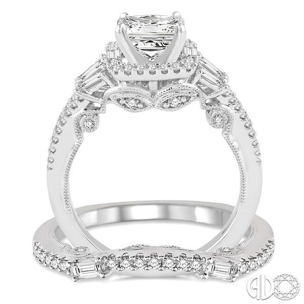 1 3/8 Ctw Diamond Wedding Set with 1 1/6 Ctw Princess Cut Engagement Ring and 1/4 Ctw Wedding Band in 14K White Gold Image 3 Coughlin Jewelers St. Clair, MI
