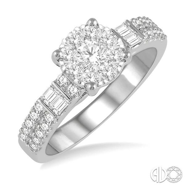 7/8 Ctw Round Shape Lovebright Diamond Cluster Ring in 14K White Gold Coughlin Jewelers St. Clair, MI