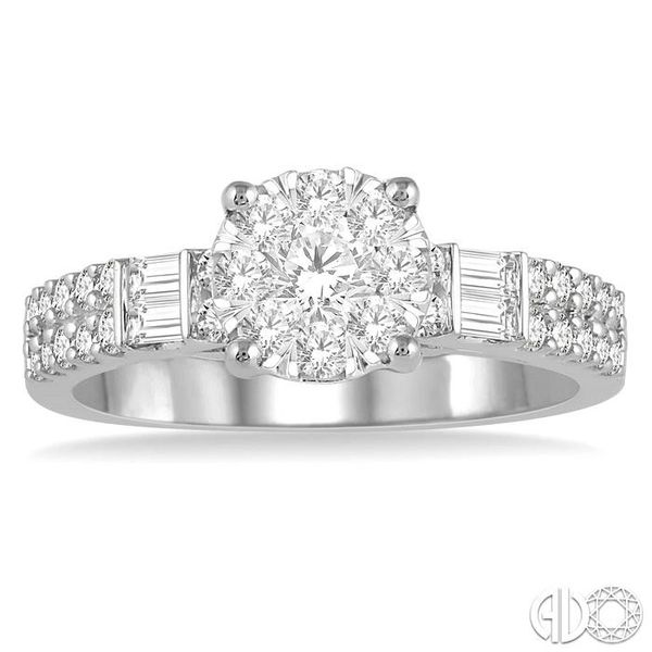 7/8 Ctw Round Shape Lovebright Diamond Cluster Ring in 14K White Gold Image 2 Coughlin Jewelers St. Clair, MI