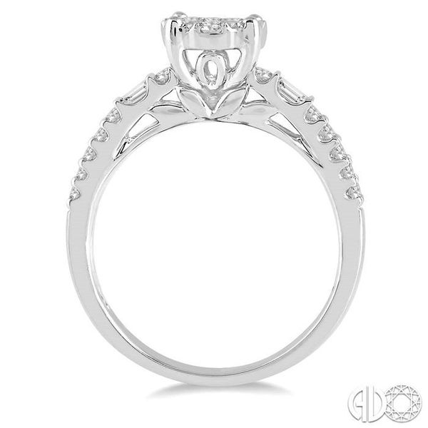 7/8 Ctw Round Shape Lovebright Diamond Cluster Ring in 14K White Gold Image 3 Coughlin Jewelers St. Clair, MI