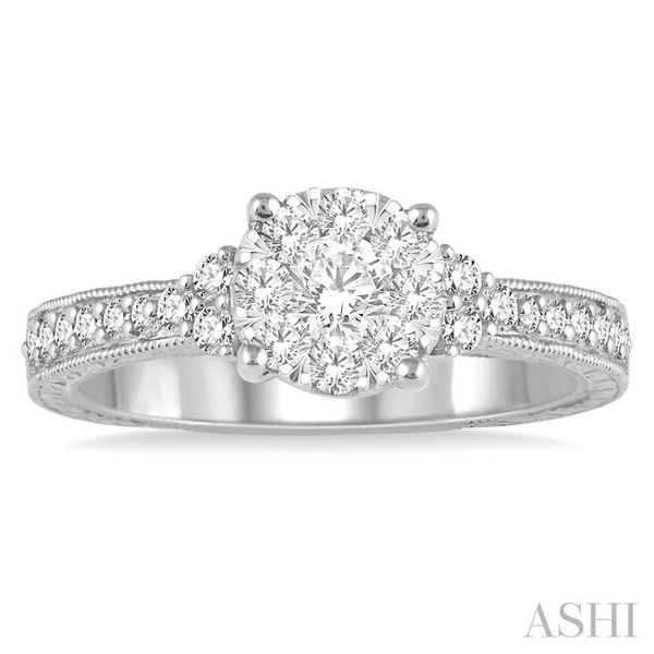 5/8 Ctw Round Shape Lovebright Diamond Cluster Ring in 14K White Gold Image 2 Coughlin Jewelers St. Clair, MI