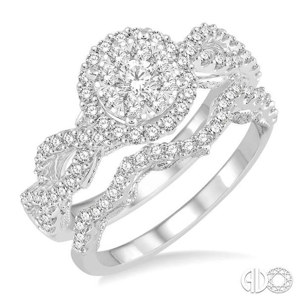 1 Ctw Round Cut Diamond Lovebright Bridal Set with 3/4 Ctw Engagement Ring and 1/5 Ctw Wedding Band in 14K White Gold Coughlin Jewelers St. Clair, MI