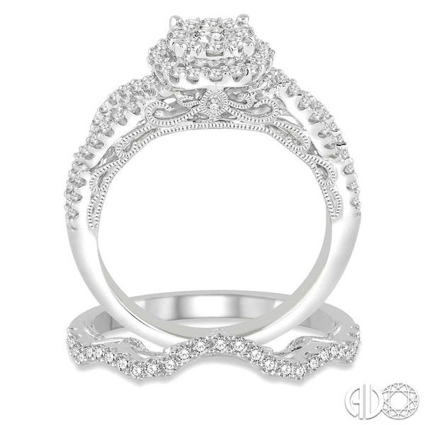 1 Ctw Round Cut Diamond Lovebright Bridal Set with 3/4 Ctw Engagement Ring and 1/5 Ctw Wedding Band in 14K White Gold Image 3 Coughlin Jewelers St. Clair, MI