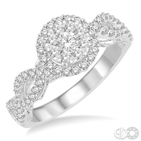 3/4 Ctw Round Cut Diamond Lovebright Ring in 14K White Gold Coughlin Jewelers St. Clair, MI