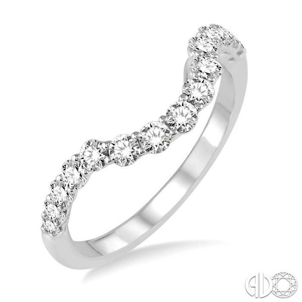 5/8 Ctw Round Cut Diamond Wedding Band in 14K White Gold Coughlin Jewelers St. Clair, MI
