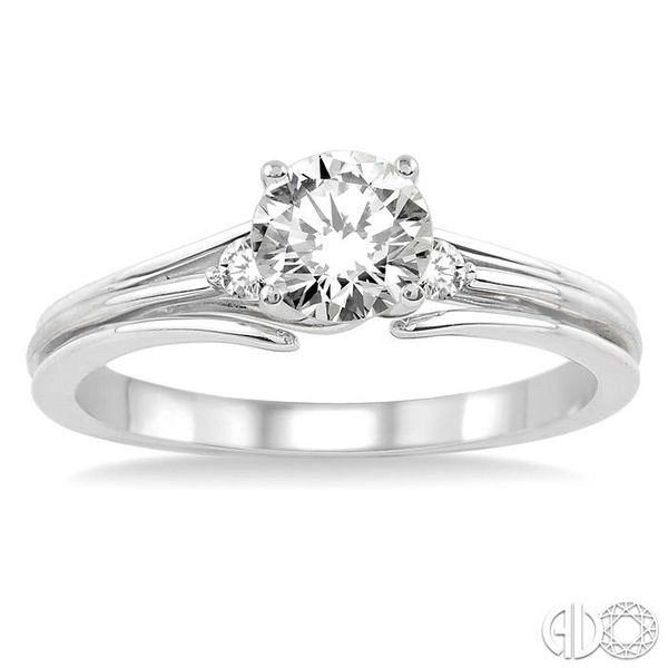 1/3 Ctw Diamond Engagement Ring with 1/3 Ct Round Cut Center Stone in 14K White Gold Image 2 Coughlin Jewelers St. Clair, MI