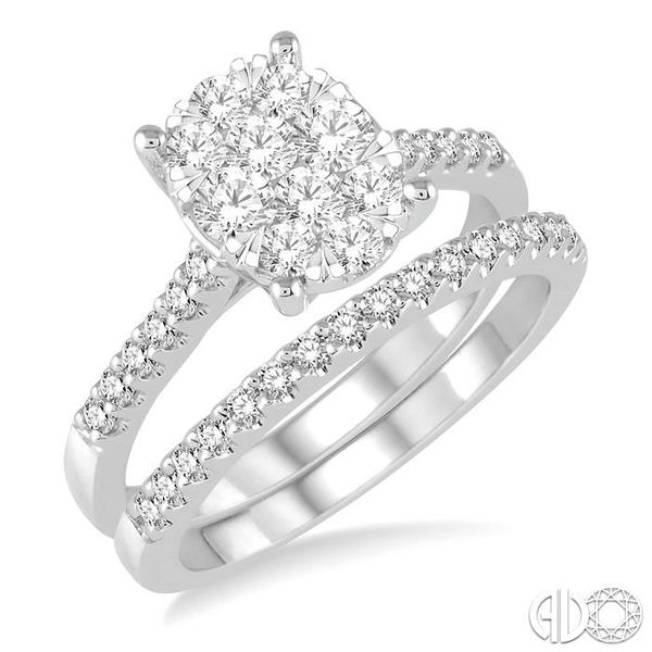 1 Ctw Diamond Lovebright Wedding Set With 3/4 Ctw Oval Shape Engagement Ring and 1/5 Ctw Wedding Band in 14K White Gold Coughlin Jewelers St. Clair, MI