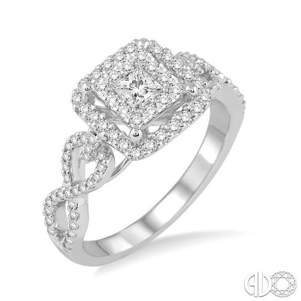 3/4 Ctw Round Cut Diamond Lovebright Square Shape Engagement Ring in 14K White Gold Coughlin Jewelers St. Clair, MI