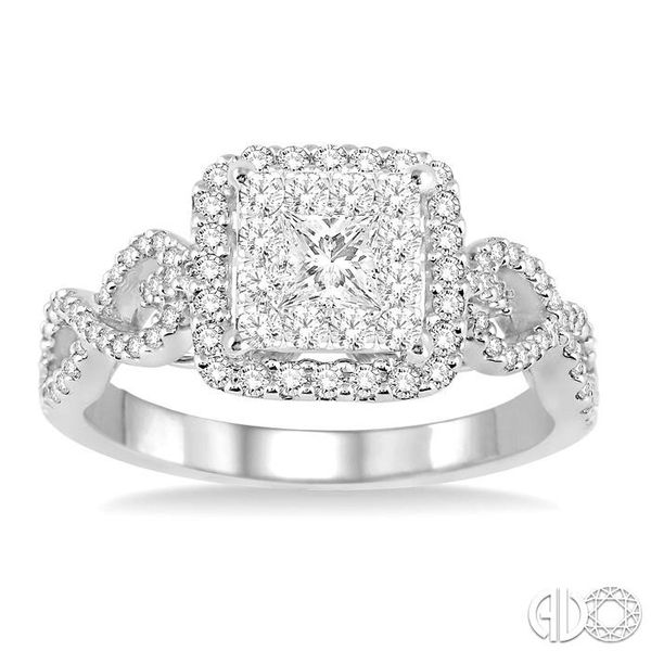 3/4 Ctw Round Cut Diamond Lovebright Square Shape Engagement Ring in 14K White Gold Image 2 Coughlin Jewelers St. Clair, MI