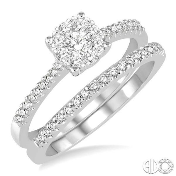 1/2 Ctw Round Cut Diamond Lovebright Bridal Set with 3/8 Ctw Engagement Ring and 1/6 Ctw Wedding Band in 14K White Gold Coughlin Jewelers St. Clair, MI