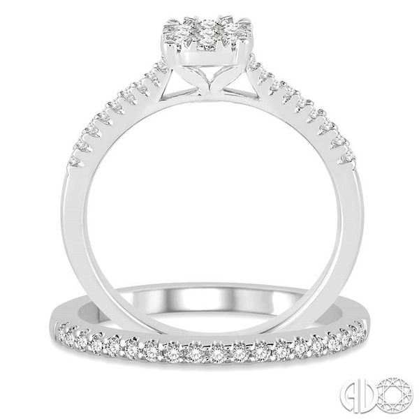 1/2 Ctw Round Cut Diamond Lovebright Bridal Set with 3/8 Ctw Engagement Ring and 1/6 Ctw Wedding Band in 14K White Gold Image 3 Coughlin Jewelers St. Clair, MI
