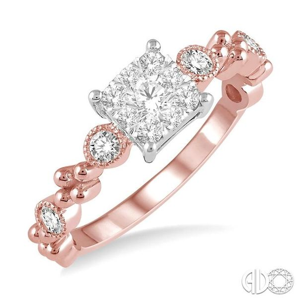 3/8 ct Princess Cut Shape Accentuated Shank Lovebright Diamond Cluster Ring in 14K Rose and White Gold Coughlin Jewelers St. Clair, MI