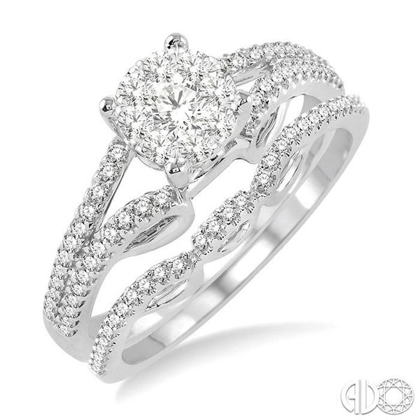 3/4 Ctw Diamond Lovebright Wedding Set with 1/2 Ctw Round Cut Engagement Ring and 1/6 Ctw Wedding Band in 14K White Gold Coughlin Jewelers St. Clair, MI