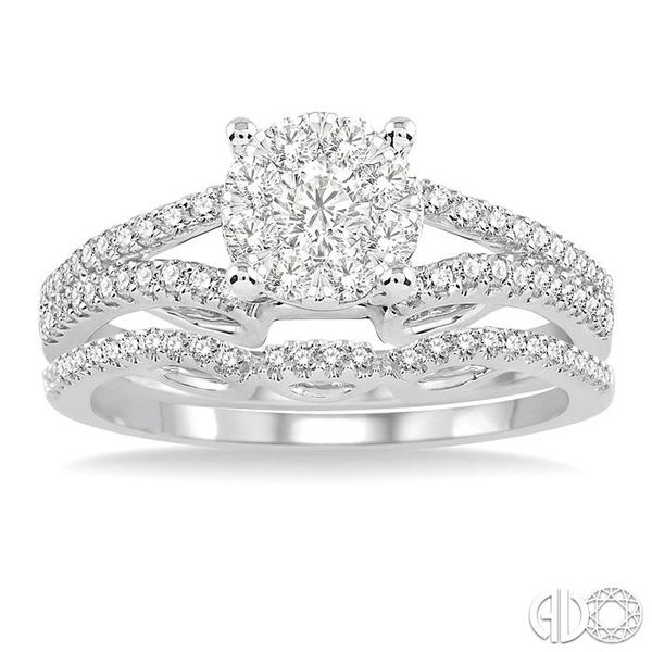 3/4 Ctw Diamond Lovebright Wedding Set with 1/2 Ctw Round Cut Engagement Ring and 1/6 Ctw Wedding Band in 14K White Gold Image 2 Coughlin Jewelers St. Clair, MI