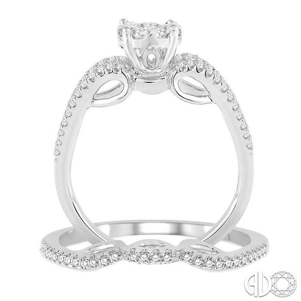 3/4 Ctw Diamond Lovebright Wedding Set with 1/2 Ctw Round Cut Engagement Ring and 1/6 Ctw Wedding Band in 14K White Gold Image 3 Coughlin Jewelers St. Clair, MI
