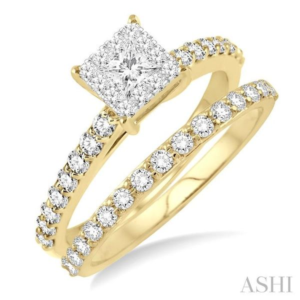 7/8 Ctw Diamond Lovebright Wedding Set with 1/2 Ctw Round and princess Cut Engagement Ring and 1/3 Ctw Wedding Band in 14K Yello Coughlin Jewelers St. Clair, MI