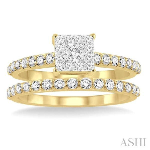 7/8 Ctw Diamond Lovebright Wedding Set with 1/2 Ctw Round and princess Cut Engagement Ring and 1/3 Ctw Wedding Band in 14K Yello Image 2 Coughlin Jewelers St. Clair, MI