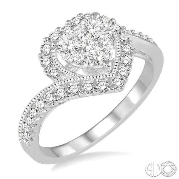 5/8 Ctw Round Cut Diamond Heart Shaped Lovebright Ring in 14K White Gold Coughlin Jewelers St. Clair, MI
