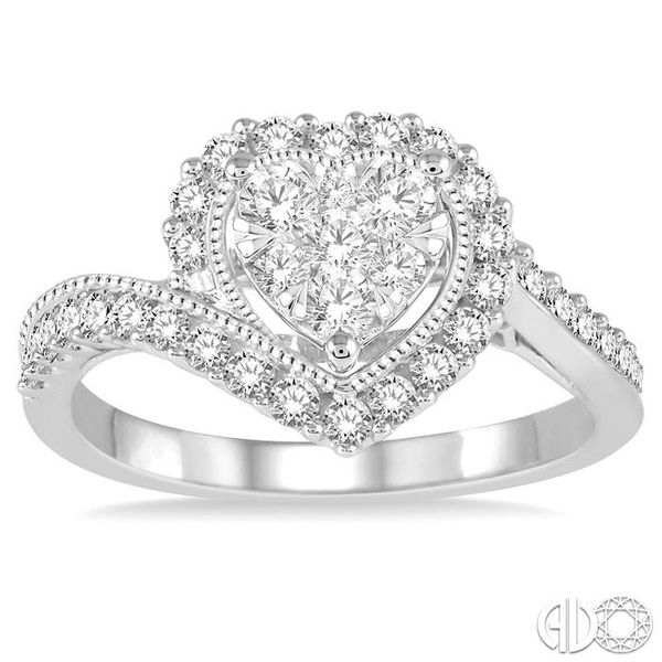 5/8 Ctw Round Cut Diamond Heart Shaped Lovebright Ring in 14K White Gold Image 2 Coughlin Jewelers St. Clair, MI