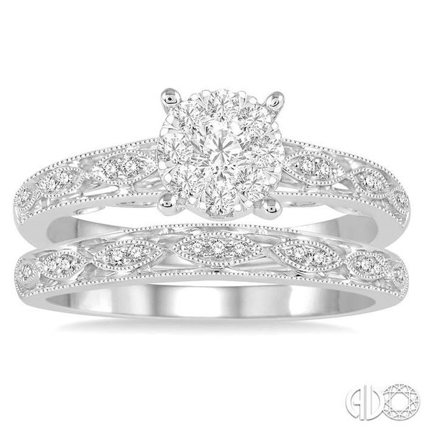 3/8 Ctw Round Cut Diamond Lovebright Bridal Set with 1/3 Ctw Engagement Ring and 1/20 Ctw Wedding Band in 14K White Gold Image 2 Coughlin Jewelers St. Clair, MI