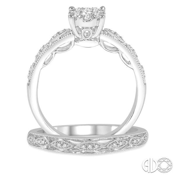3/8 Ctw Round Cut Diamond Lovebright Bridal Set with 1/3 Ctw Engagement Ring and 1/20 Ctw Wedding Band in 14K White Gold Image 3 Coughlin Jewelers St. Clair, MI