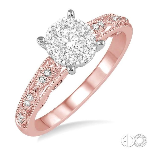 1/3 Ctw Round Cut Diamond Lovebright Engagement Ring in 14K Rose and White Gold Coughlin Jewelers St. Clair, MI