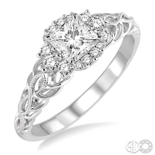 1/2 Ctw Diamond Engagement Ring with 1/4 Ct Princess Cut Center Stone in 14K White Gold Coughlin Jewelers St. Clair, MI
