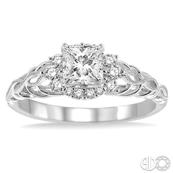 1/2 Ctw Diamond Engagement Ring with 1/4 Ct Princess Cut Center Stone in 14K White Gold Image 2 Coughlin Jewelers St. Clair, MI