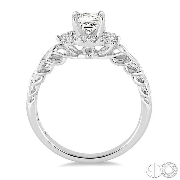 1/2 Ctw Diamond Engagement Ring with 1/4 Ct Princess Cut Center Stone in 14K White Gold Image 3 Coughlin Jewelers St. Clair, MI
