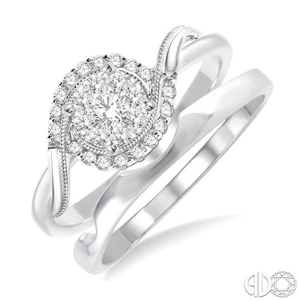 1/3 Ctw Diamond Lovebright Wedding Set with 1/3 Ctw Round Cut Engagement Ring and Shadow Band in 14K White Gold Coughlin Jewelers St. Clair, MI