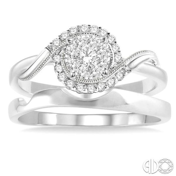 1/3 Ctw Diamond Lovebright Wedding Set with 1/3 Ctw Round Cut Engagement Ring and Shadow Band in 14K White Gold Image 2 Coughlin Jewelers St. Clair, MI