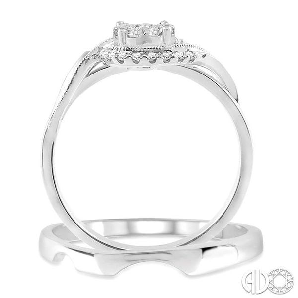1/3 Ctw Diamond Lovebright Wedding Set with 1/3 Ctw Round Cut Engagement Ring and Shadow Band in 14K White Gold Image 3 Coughlin Jewelers St. Clair, MI