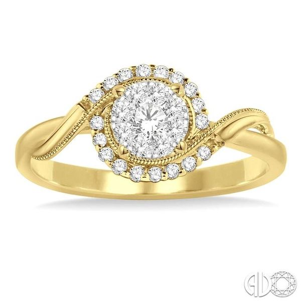 1/3 Ctw Round Cut Diamond Lovebright Engagement Ring in 14K Yellow and White Gold Image 2 Coughlin Jewelers St. Clair, MI