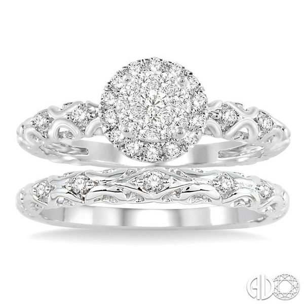 1/2 Ctw Diamond Lovebright Wedding Set with 3/8 Ctw Round Cut Engagement Ring and 1/20 Ctw Wedding Band in 14K White Gold Image 2 Coughlin Jewelers St. Clair, MI
