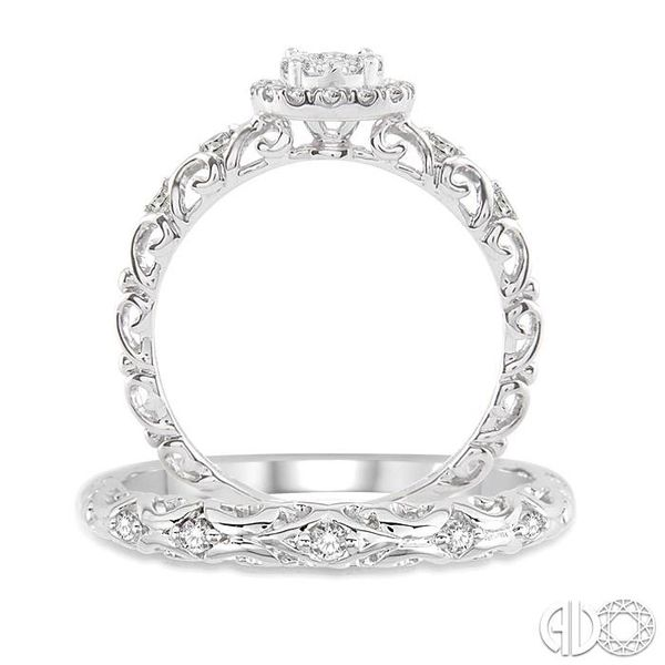 1/2 Ctw Diamond Lovebright Wedding Set with 3/8 Ctw Round Cut Engagement Ring and 1/20 Ctw Wedding Band in 14K White Gold Image 3 Coughlin Jewelers St. Clair, MI