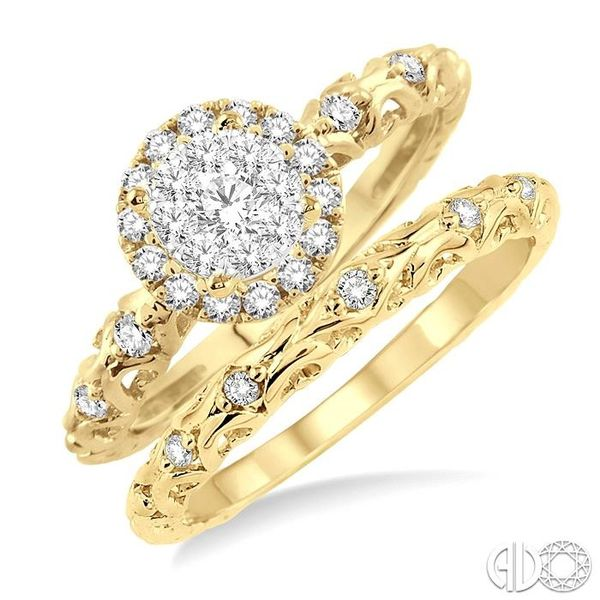 1/2 Ctw Diamond Lovebright Wedding Set with 3/8 Ctw Round Cut Engagement Ring and 1/20 Ctw Wedding Band in 14K Yellow and White  Coughlin Jewelers St. Clair, MI