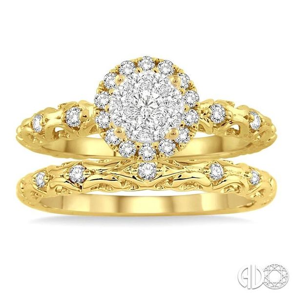 1/2 Ctw Diamond Lovebright Wedding Set with 3/8 Ctw Round Cut Engagement Ring and 1/20 Ctw Wedding Band in 14K Yellow and White  Image 2 Coughlin Jewelers St. Clair, MI